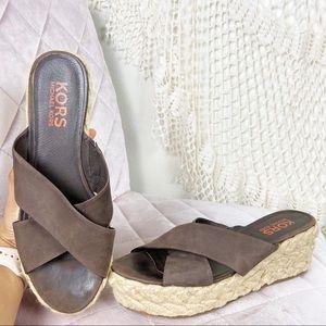 Micheal Kors Brown espadrille cross strap sandals